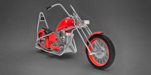Motocicletta personalizzata classica rossa isolata sulla superficie grigia