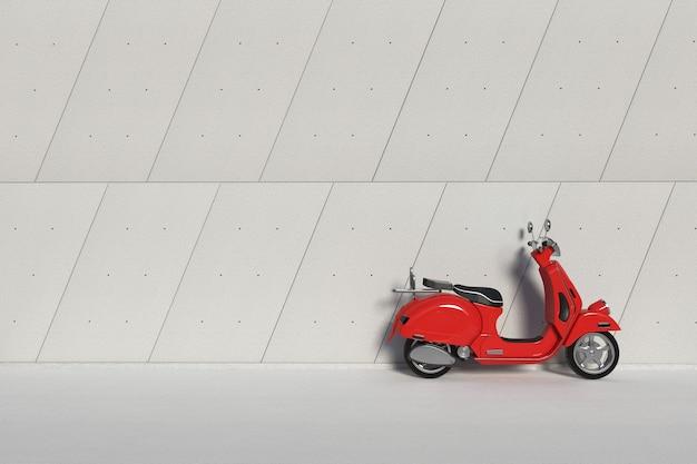 Rosso classico vintage retrò o scooter elettrico davanti al primo piano estremo del muro di cemento dei pannelli esterni dell'edificio industriale. rendering 3d