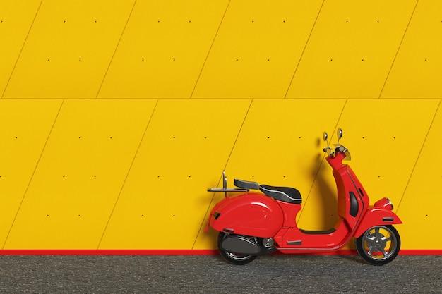 Rosso classico vintage retrò o scooter elettrico davanti all'edificio industriale al di fuori dei pannelli muro di cemento giallo primo piano estremo. rendering 3d