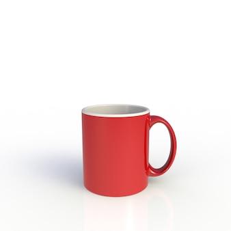 Tazza di caffè rossa su bianco