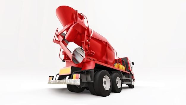 Superficie bianca del camion della betoniera rossa