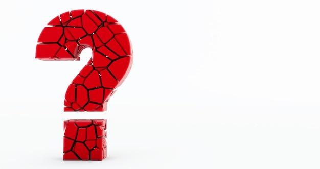 Punto interrogativo rosso incrinato su sfondo bianco