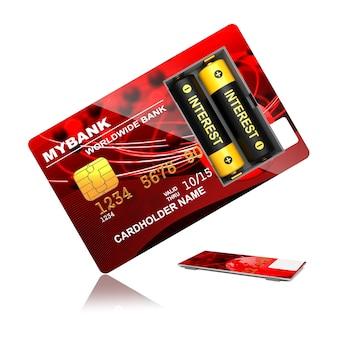 Carta di credito rossa con batterie isolate