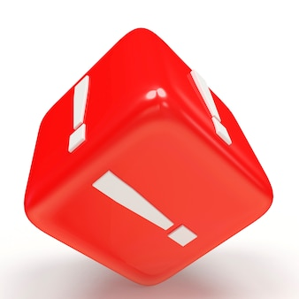 Cubo rosso con punto esclamativo