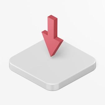 Icona freccia rossa verso il basso nell'elemento ux dell'interfaccia utente di rendering 3d