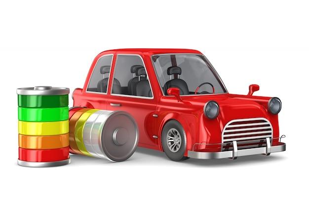 Automobile elettrica rossa su bianco