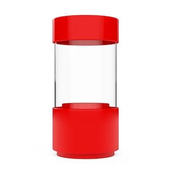 Cilindro di vetro vuoto rosso della vetrina del negozio su un fondo bianco. rendering 3d.