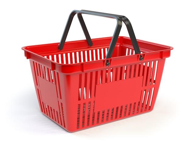 Cestino della spesa vuoto rosso isolato sull'illustrazione bianca del fondo 3d