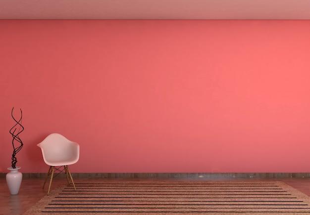Parete vuota rossa nel fondo della stanza