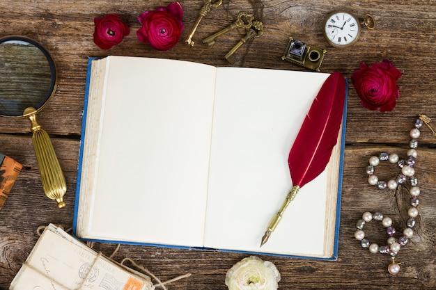 Penna piuma rossa sul vecchio libro aperto in bianco, vista dall'alto
