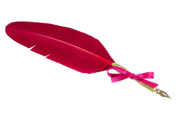 Penna piuma rossa con fiocco rosso isolato su bianco