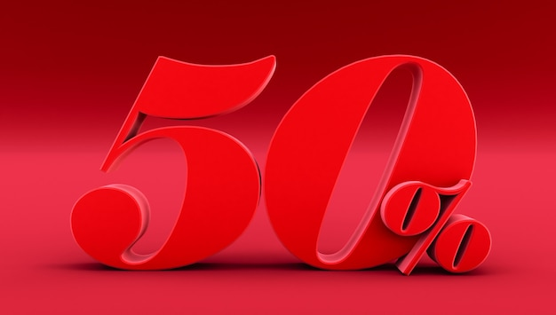 Rosso cinquanta per cento su uno sfondo rosso. rendering 3d. 50%