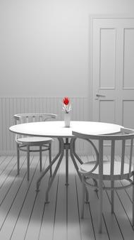 Fiore rosso in vaso sul tavolino del bar foto in bianco e nero per sfondo vintage. illustrazione 3d.