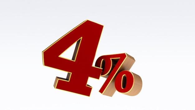 Rosso quattro (4) percento isolato su uno sfondo bianco., 4 percento di sconto,