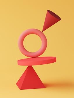 Gli oggetti geometrici rossi sono posizionati accanto alla parte superiore su sfondo giallo. sfondo astratto. rendering 3d