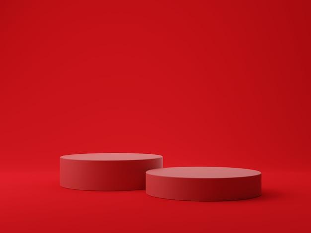 Sfondo rosso forma geometrica con podio per la visualizzazione del prodotto