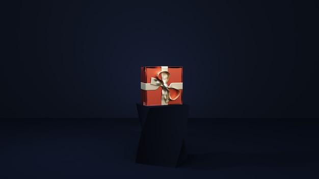 Confezione regalo rossa sul podio blu scuro. rendering 3d