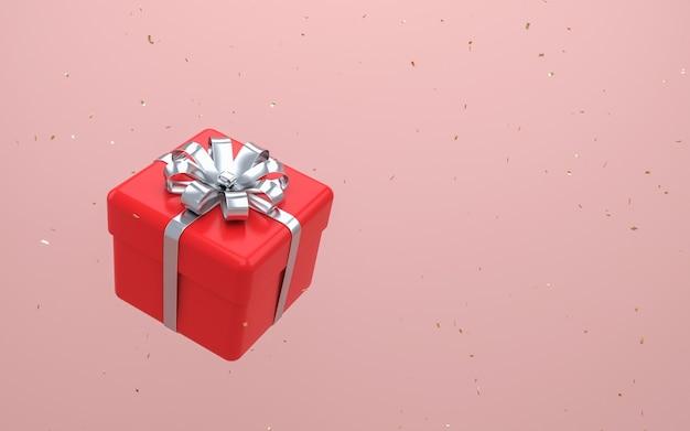 Confezione regalo rossa con fiocco in nastro d'argento levitante sulla parete rosa pastello. rendering 3d