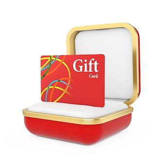 Carta regalo rossa nella confezione regalo rossa su sfondo bianco. rendering 3d