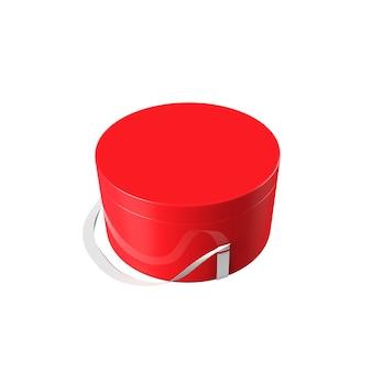 Confezione regalo natalizia cilindrica rossa. casella di concetto di rendering 3d. confezione del nuovo anno. sfondo bianco.