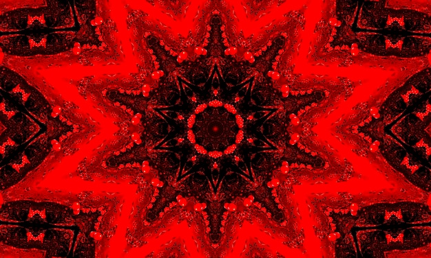 Un rosso incandescente motivo floreale caleidoscopio sfondo.