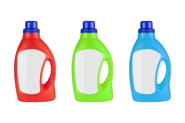 Bottiglia di detersivo in plastica rossa, verde e blu mock up con spazio vuoto per il tuo design su sfondo bianco