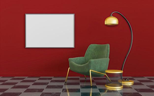 Interno minimalista rosso, verde e oro con lampada, divano e mock-up di una tela