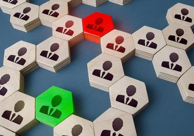 Persone rosse e verdi nella rete aziendale risoluzione dei conflitti di problemi attraverso i gestori dei contatti