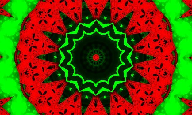 Caleidoscopio psichedelico rosso e verde. tessuto ricciolo tinto. pennello ikat colorato arte. caleidoscopio psichedelico del 2021. sfondo fresco dell'acquerello. decorare ikat rosa. cerchio