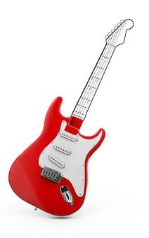 Chitarra rossa 3d rendering su sfondo bianco, pezzo di chitarra dipinto