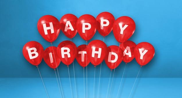 Mongolfiere rosse di buon compleanno su una scena di sfondo blu. banner orizzontale. rendering di illustrazione 3d
