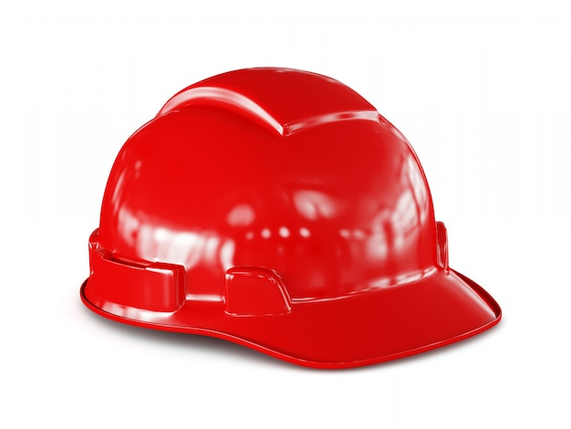 Casco rosso del muratore isolato