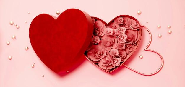 Scatola cuore rosso con rose per san valentino o giorno speciale, piatto lay