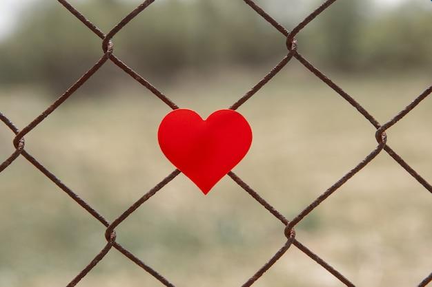 Cuore rosso su un recinto di collegamento a catena.