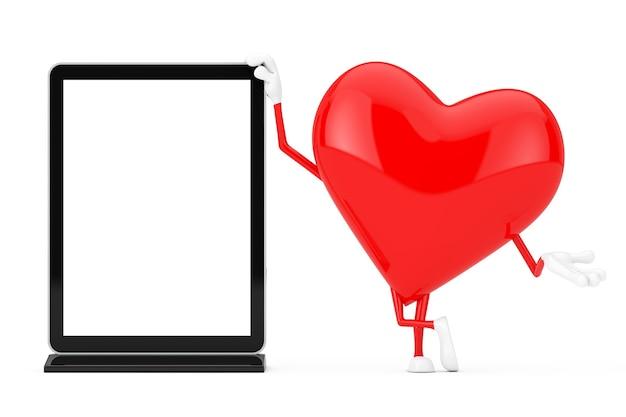 Mascotte del carattere del cuore rosso con lo schermo lcd in bianco della fiera commerciale come modello per il vostro disegno su un fondo bianco. rendering 3d