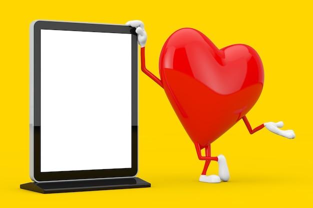 Mascotte del carattere del cuore rosso con lo schermo lcd vuoto della fiera commerciale come modello per il vostro disegno su un fondo giallo. rendering 3d