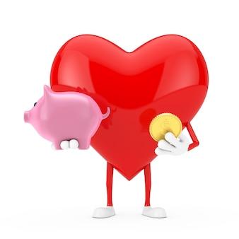 Mascotte del carattere del cuore rosso con il porcellino salvadanaio e la moneta dorata del dollaro su un fondo bianco. rendering 3d