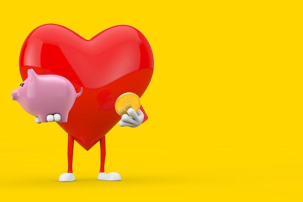Mascotte del carattere del cuore rosso con il porcellino salvadanaio e la moneta dorata del dollaro su un fondo giallo. rendering 3d
