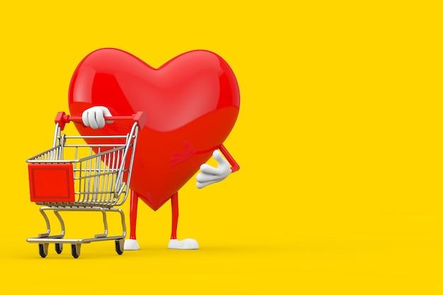 Mascotte del carattere del cuore rosso con il carrello del carrello su un fondo giallo. rendering 3d