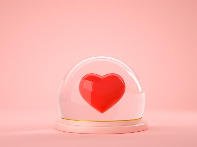Cuore rosso all'interno del globo della sfera di vetro su sfondo rosa
