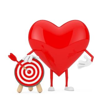 Personaggio mascotte cuore rosso con bersaglio tiro con l'arco e dardo in centro su sfondo bianco. rendering 3d