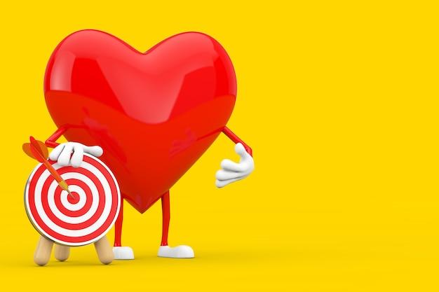 Personaggio mascotte cuore rosso con bersaglio tiro con l'arco e dardo al centro su sfondo giallo. rendering 3d