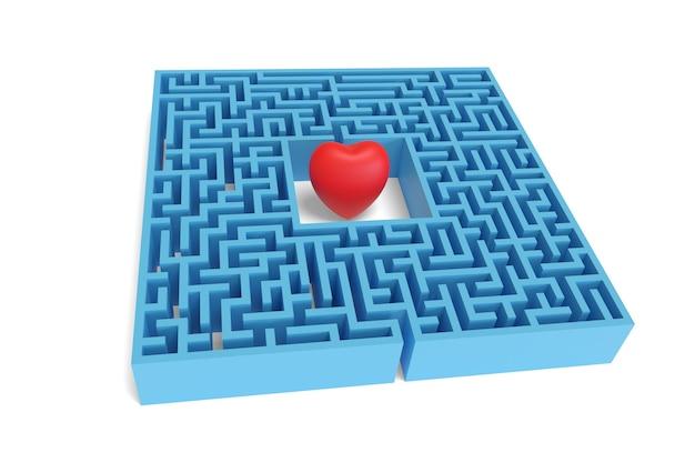 Cuore rosso nel mezzo di un labirinto isolato su uno sfondo bianco.