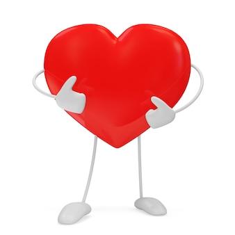 Personaggio del cuore rosso isolato su bianco