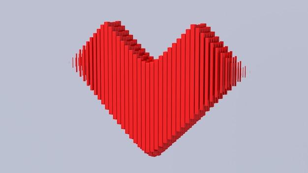 A forma di cuore rosso. illustrazione astratta, rendering 3d. il giorno di san valentino concetto.
