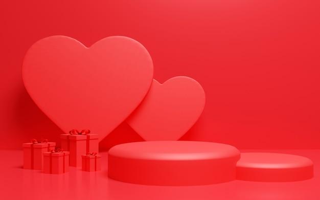 Fondale a podio a forma di cuore rosso per espositore di prodotti. rendering 3d