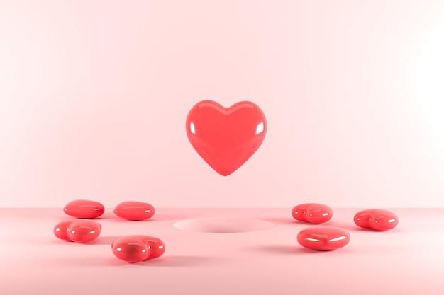 Forme rosse del cuore che galleggiano dal foro su fondo rosa. rendering 3d. idea minima del concetto di san valentino.