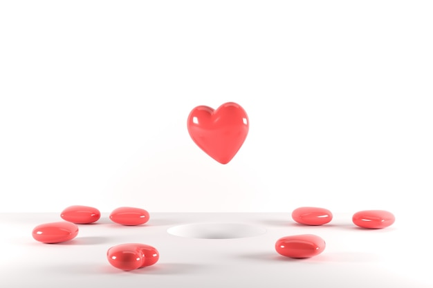 Forme di cuore rosso che galleggiano dal foro su sfondo rosa 3d rendono l'idea minima del concetto di san valentino