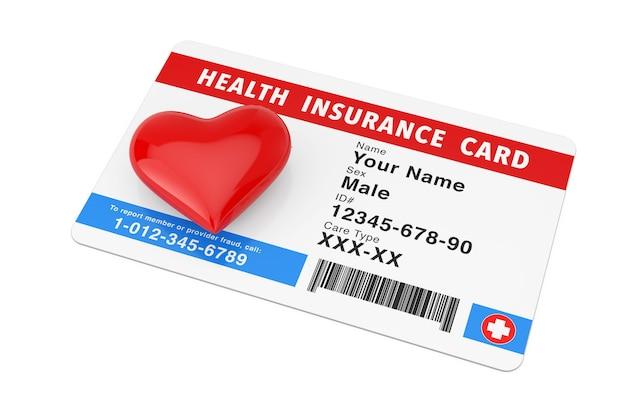 Cuore rosso con il concetto di tessera sanitaria di assicurazione sanitaria su uno sfondo bianco. rendering 3d