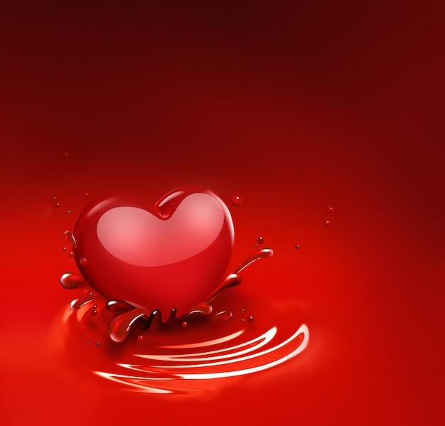 Cuore rosso con spruzzi di vernice